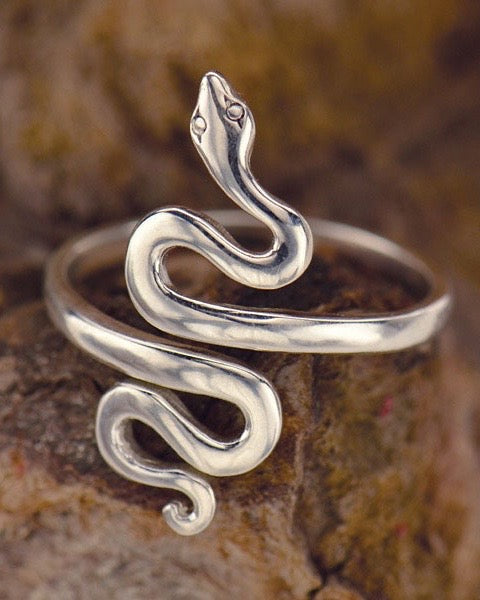 Sterling Silver Adjustable Serpent Ring - WALK IN BEAUTY