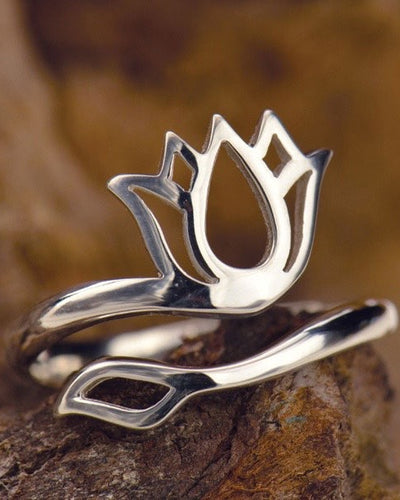 Adjustable Silver Lotus Ring - RADIANT BEAUTY