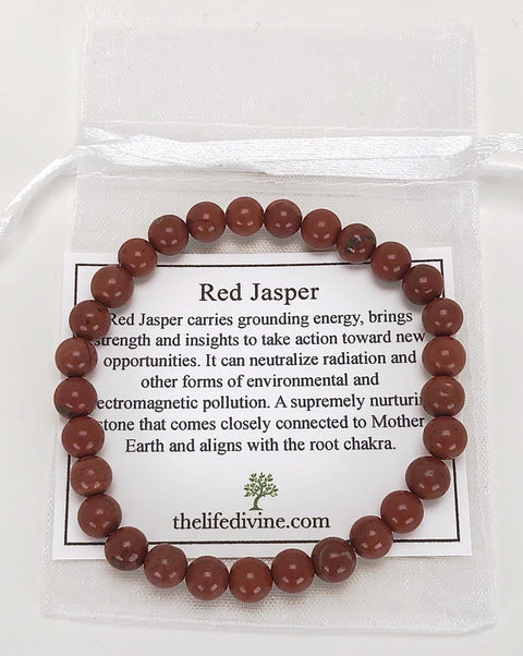 Red Jasper 6mm Gemstone Bracelet