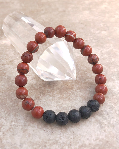 Red Jasper and Lava Stone Bracelet