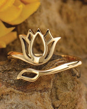 RESILIENT BLOOM - Adjustable Bronze Lotus Ring