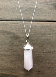 Rose Quartz Crystal Point Electroplate Pendant