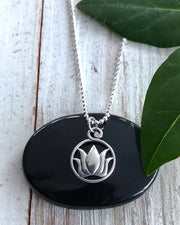 Sterling Silver Round Lotus Charm
