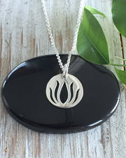 Sterling Silver Lotus Necklace - BREAKING THROUGH