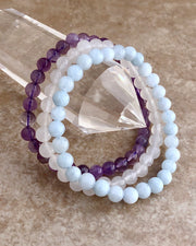 6mm Gemstone Bracelet Set for Serenity and Wellness