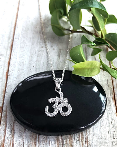 BRILLIANT SPIRIT - Sterling Silver CZ Om Necklace