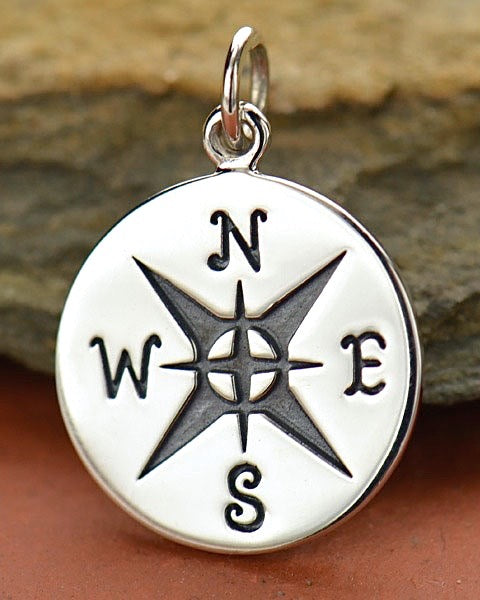 Sterling Silver Small Compass Rose Necklace