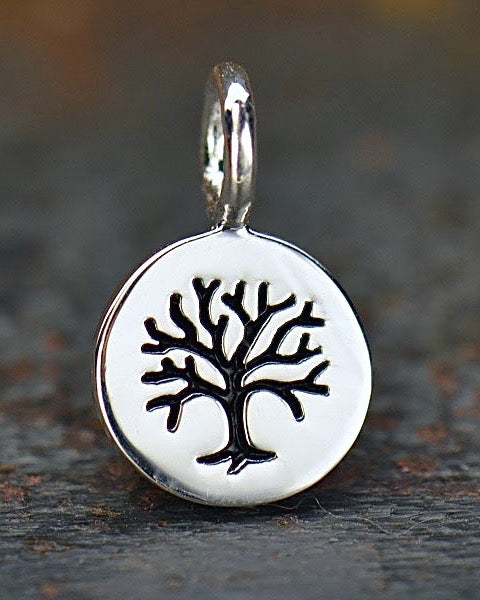 Silver Tiny Tree of Life Disc Necklace