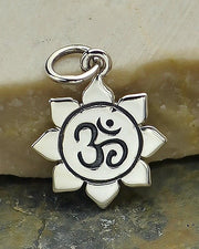 Small Silver Om Lotus Necklace - AWAKENING SPIRIT