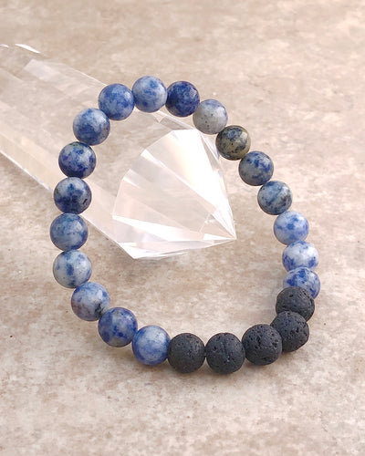 Sodalite and Lava Stone 8mm Gemstone Bracelet