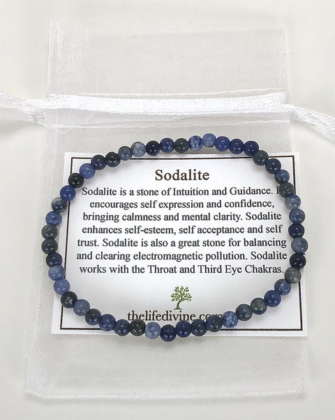 Children's Size Sodalite 4mm Gemstone Bracelet