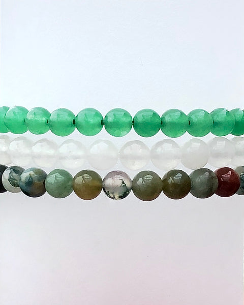 6mm Gemstone Bracelet Set for Support and Grounding