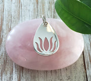 Silver Teardrop Lotus Necklace - INFINITE POTENTIAL