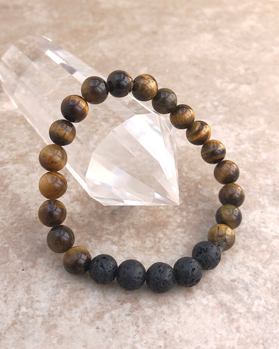 Tiger Eye and Lava Stone 8mm Gemstone Bracelet