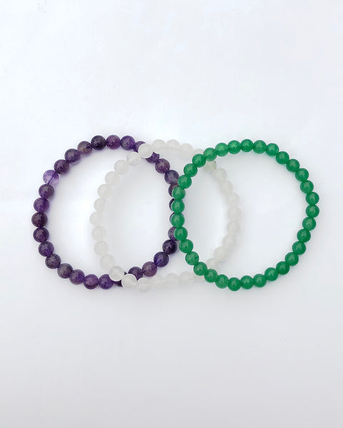 6mm Gemstone Bracelet Set for Tranquility