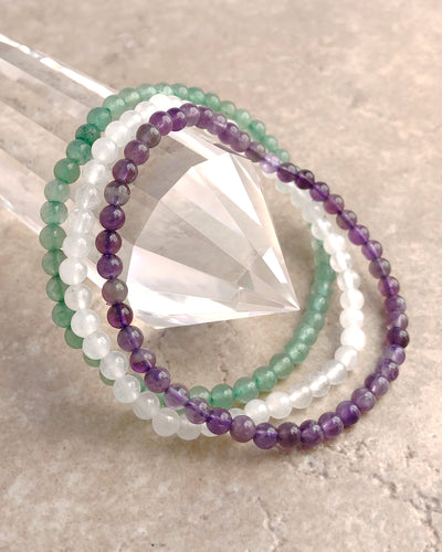 4mm Mini Gemstone Bracelet Set for Tranquility