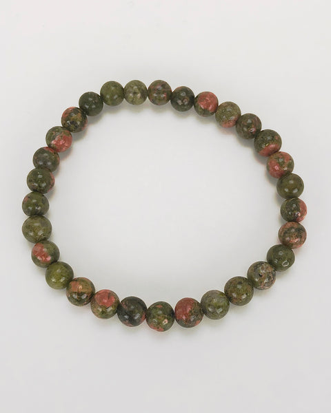 Unakite 6mm Gemstone Bracelet