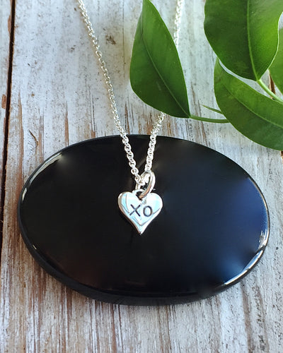 Sterling Silver XO Heart Necklace