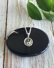 Sterling Silver Yin Yang Disk Necklace