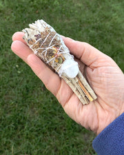 White Sage with Lavender and Quartz Crystal