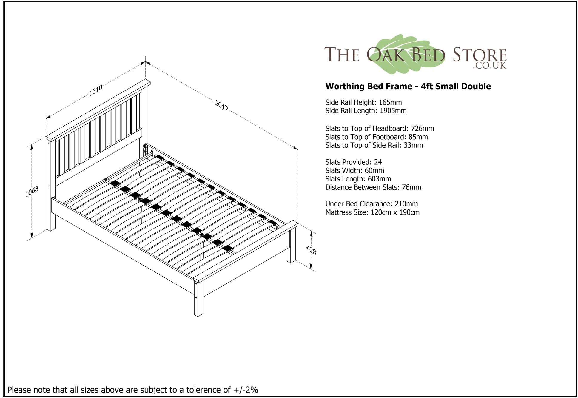 ea5041dc8db9 Worthing White Wooden Bed Frame - 4ft Small Double – The Oak Bed Store