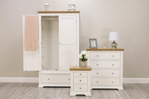 Westcott White & Oak 1 Drawer Double Wardrobe - The Oak Bed Store