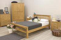Boston Solid Natural Oak Bed Frame - 4ft6 Double