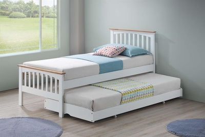 Heywood White & Oak Wooden Guest Bed - 3ft Single - The Oak Bed Store