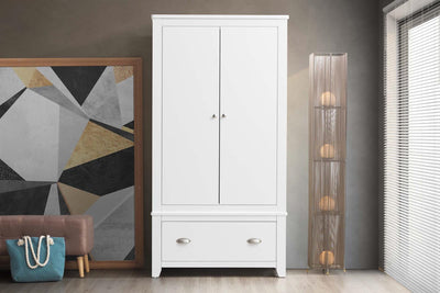 Milan White 1 Drawer Double Wardrobe - The Oak Bed Store