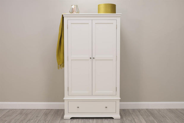 Westcott White 2 Door 1 Drawer Double Wardrobe - The Oak Bed Store