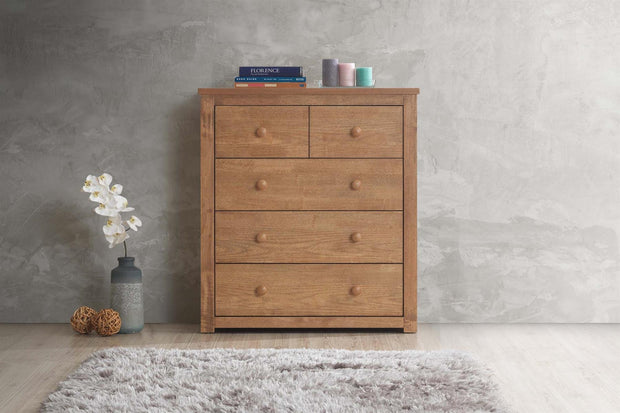 Chester Oak 2 Over 3 Chest of Drawers - The Oak Bed Store
