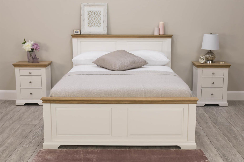 Picture of: Westcott Soft White Natural Oak Solid Wood Bed Frame 6ft Super Kin The Oak Bed Store