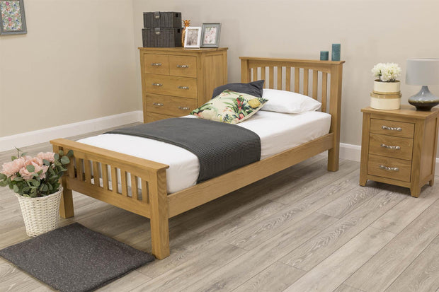 Boston Solid Oak Bed Frame - 3ft Single - The Oak Bed Store