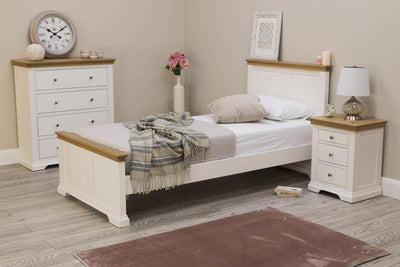 Westcott Soft White & Natural Oak Solid Wood Bed Frame - 3ft Single - The Oak Bed Store