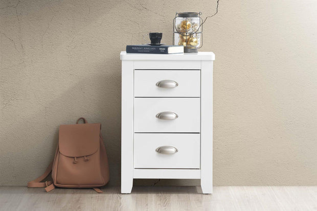 Milan White 2 + 1 Bedside Table - The Oak Bed Store