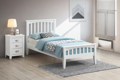Milan White Wooden Bed Frame - 3ft Single - The Oak Bed Store