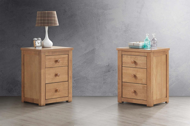 Chester Oak 2+1 Bedside Table - The Oak Bed Store