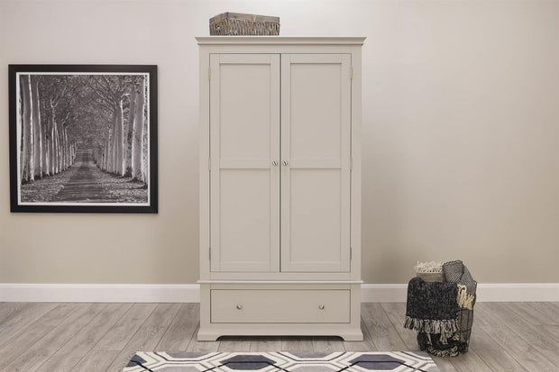 Westcott Light Grey 2 Door 1 Drawer Double Wardrobe - The Oak Bed Store