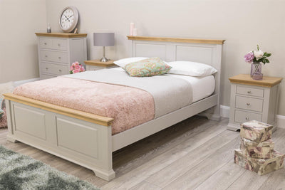 Westcott Light Grey & Oak Solid Wood Bed Frame - 5ft King Size - The Oak Bed Store