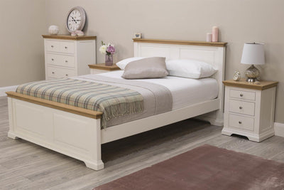 Westcott White & Oak Solid Wood Bed Frame - 4ft6 Double - The Oak Bed Store