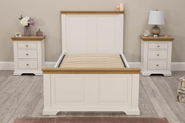 Westcott White & Oak Solid Wood Bed Frame - 3ft Single - The Oak Bed Store