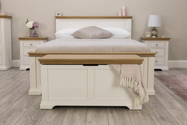 Westcott White & Oak Blanket Box - The Oak Bed Store