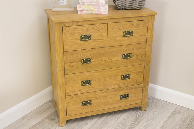 Boston Rustic Solid Oak 4 Drawer Chest of Drawers - The Oak Bed Store