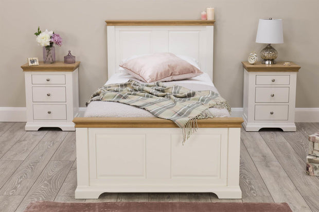 Westcott White & Oak 2 + 1 Drawer Bedside Table - The Oak Bed Store
