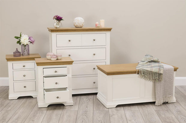 Westcott Soft White & Natural Oak 2 + 1 Drawer Bedside Table - The Oak Bed Store