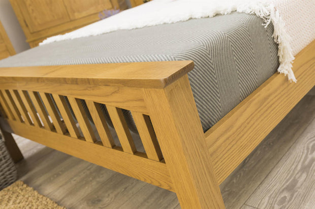 Boston Rustic Solid Oak Bed Frame - 5ft King Size - The Oak Bed Store