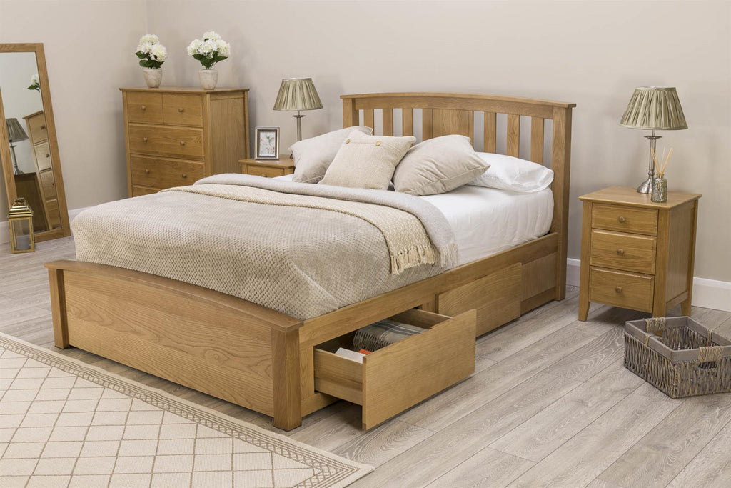 Picture of: Royal Ascot Solid Natural Oak Storage Bed Frame 5ft King Size The Oak Bed Store