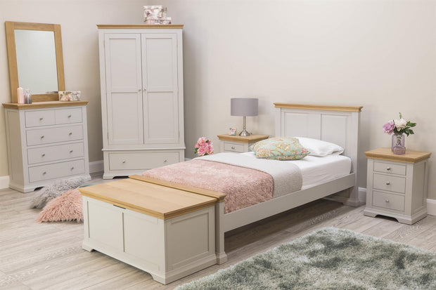 Westcott Light Grey & Oak Blanket Box - The Oak Bed Store