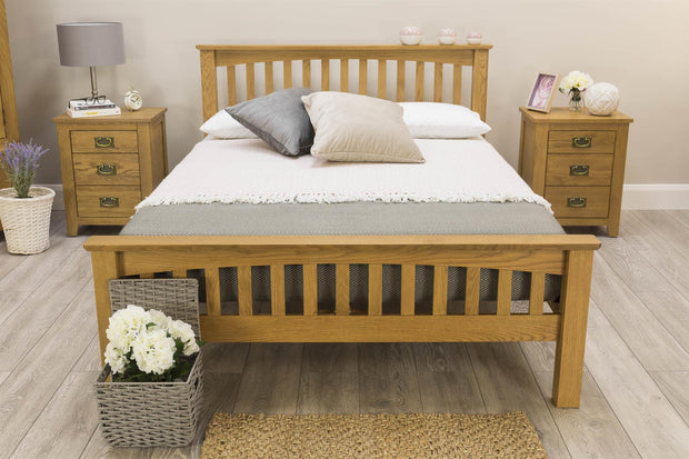 Boston Rustic Solid Oak Bed Frame - 4ft6 Double - The Oak Bed Store
