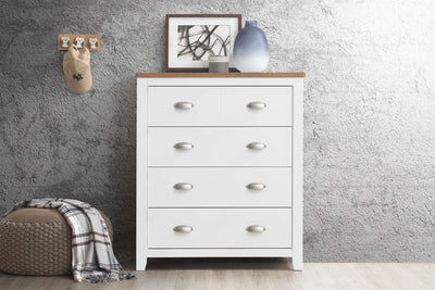 Milan White & Oak 4 Drawer Chest of Drawers - The Oak Bed Store
